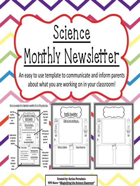 Science Monthly Newsletter Editable Templates Newsletter Templates Models And Science Science Newsletter Template