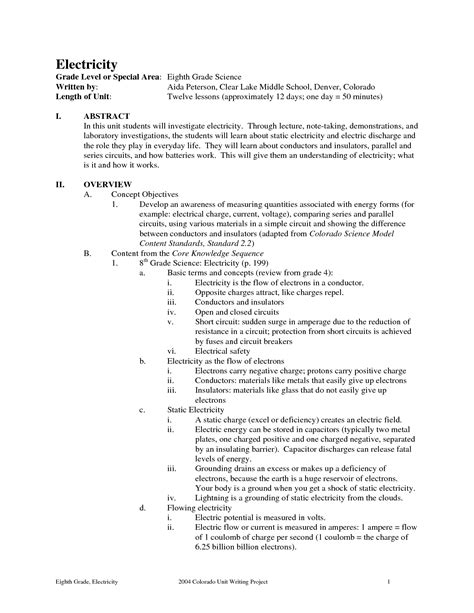 Static Electricity Worksheets For by 14 Best Images Of 8th Grade Science Worksheets