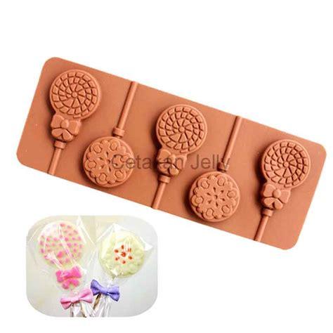 Stick Permen Lolipop Cakepop Gagang Permen cetakan silikon coklat permen lolipop bulat patern ii cetakan jelly cetakan jelly
