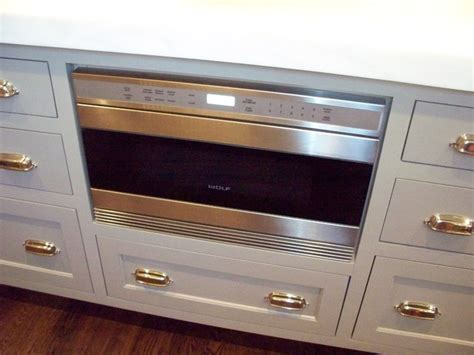 Wolf Drawer Microwave kitchen with wolf microwave drawer built into island