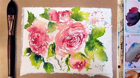 Handmade Watercolor Paper - roses on recycled handmade watercolor paper from