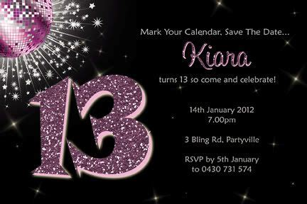 personalised bling birthday invitations 13th 16th teen