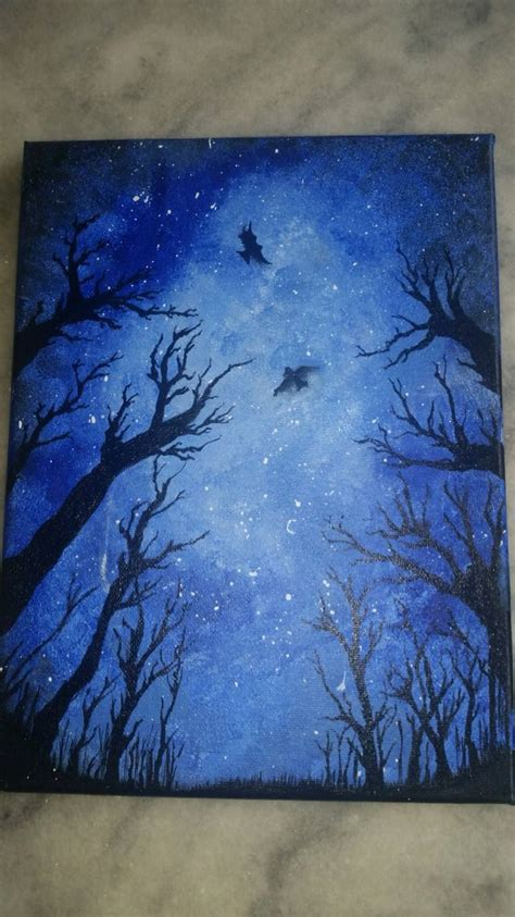 easy acrylic painting for beginners use only 4 colors white black blue light blue