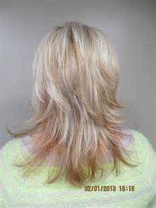 ponytail shag diy haircut rear view updated gypsy shag with triple blond highlights