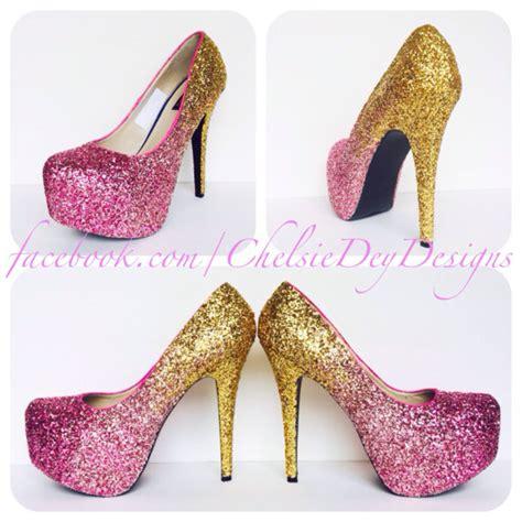 glitter pink high heels glitter high heels pink gold ombre pumps by