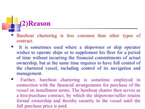 bareboat hire purchase chartering