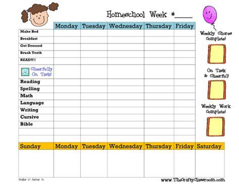 weekly homeschool planner blank version