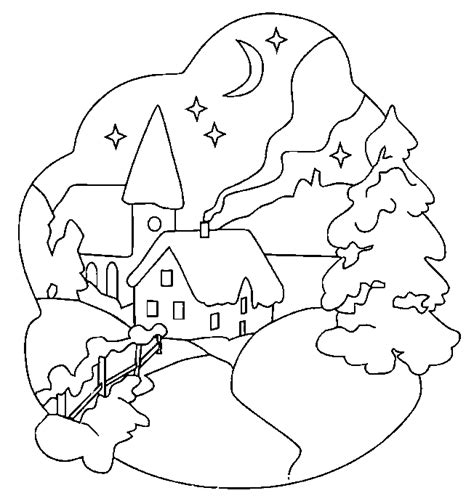 snow landscape coloring page christmas landscape coloring pages learn to coloring