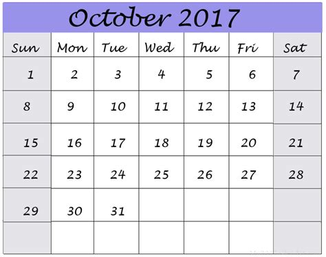Calendar 2017 Template October October 2017 Calendar Printable Template Calendar
