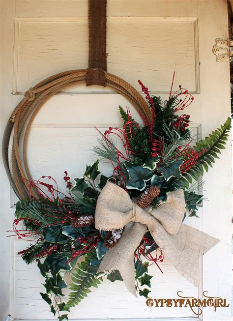 western lariat rope christmas wreath with burlap by