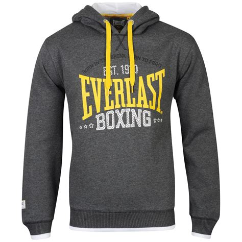 Hoodie Logo Everlast 1 everlast mens brushback printed sweatshirt charcoal marl mens clothing zavvi