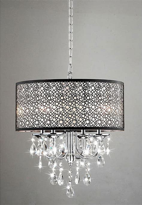 Bedroom Chandelier Lights Indoor 4 Light Chrome Metal Shade