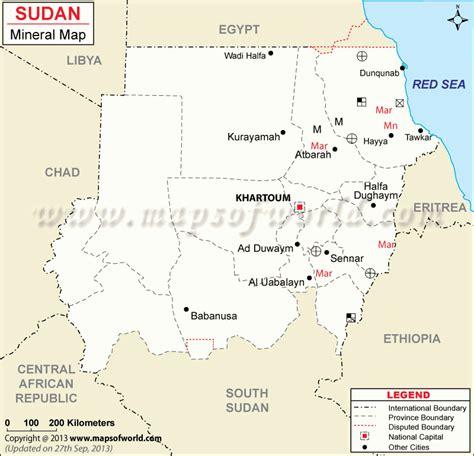 sudan mineral map natural resources  sudan