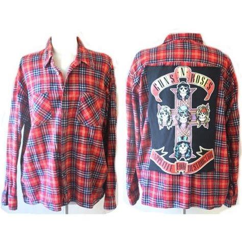Rok Flanel Tartan guns n roses rock n roll vintage flannel shirt check plaid