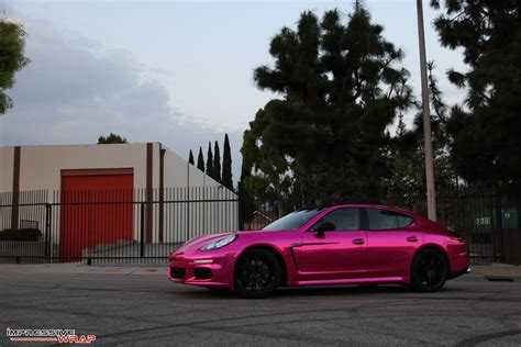 pink porsche panamera pink chrome porsche panamera by impressive wrap