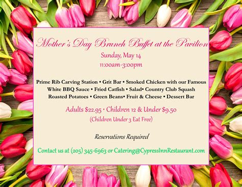 mothers day mothers day brunch the cypress inn