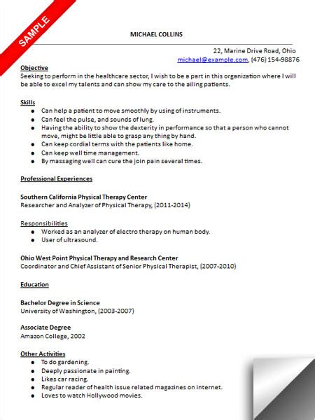 Physical Therapy Assistant Resume by Physical Therapist Assistant Resume Sle