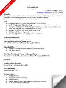 physical therapy resume exles physical therapist assistant resume sle