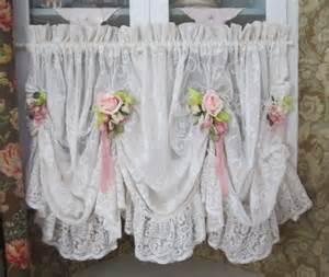 shabby chic valance shabby chic ruffled lace valance swag curtain pink roses