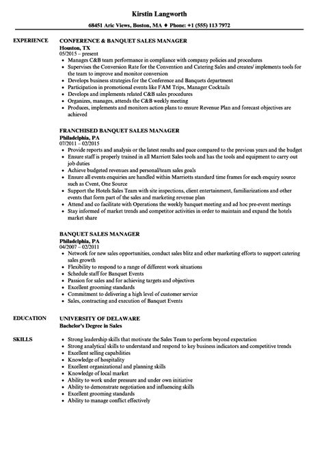 Catering Manager Description For Resume