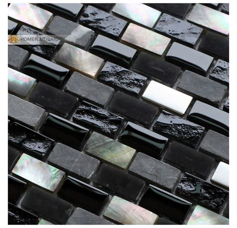 Buy Kitchen Backsplash black mother of pearl mixed glass stone metal mosaic tiles