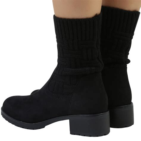 sock boots womens ebay angela womens flats low heels pull on knitted sock ankle boots shoes size ebay
