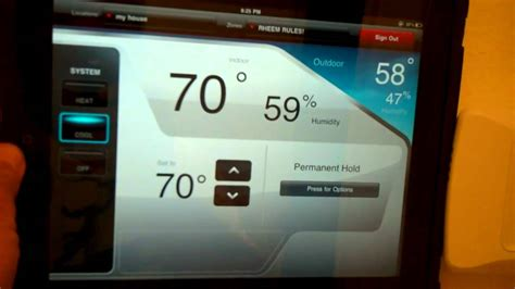 honeywell total connect comfort thermostat honeywell total connect comfort iphone and ipad app youtube