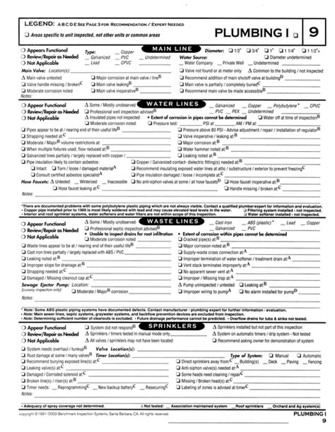 plumbing inspection report template 23 images of plumbing inspection checklist template
