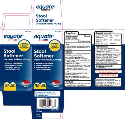 Equate Stool Softener Ingredients by Stool Softener Equate Walmart Stores Inc Docusate