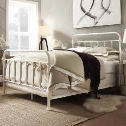 Iron Bed Frame Metal Bed Frame White Antique Iron King