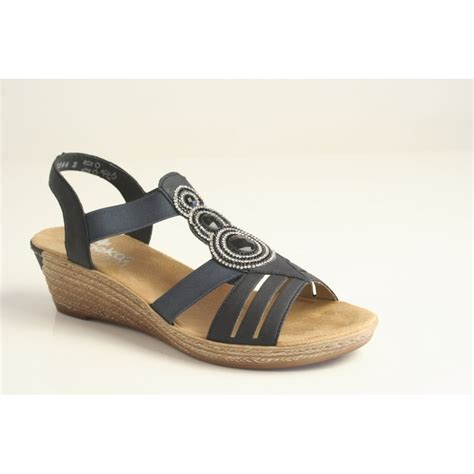rieker rieker navy wedge with diamonte detail and