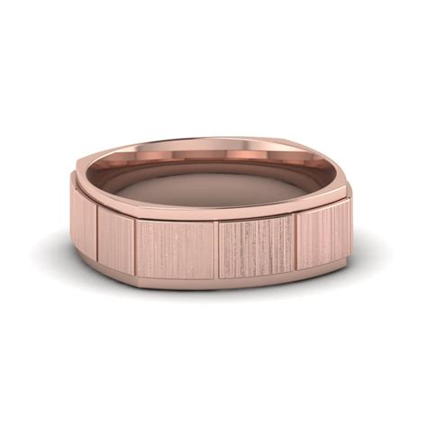 Rose Gold Texture Square Mens Wedding Band Ring In 14K