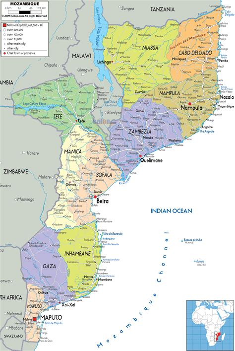 map of mozambique cities detailed administrative map of mozambique with all cities