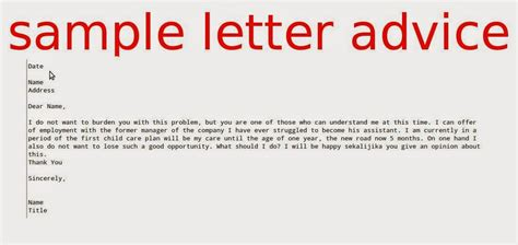 advice letter sle letter advice sles business letters