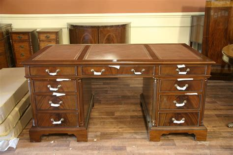 high top desk high end leather top executive mahogany office desk