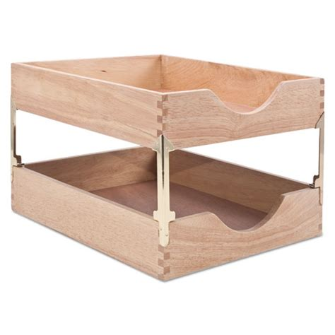 Stackable Desk Tray by Carver Cw07211 Hardwood Letter Stackable Desk Tray Oak