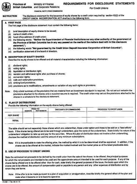 Credit Disclosure Form Credit Union Disclosure Statement Exemptions Regulation