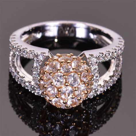 sphere white sapphire ring 14k white and yellow gold ebay