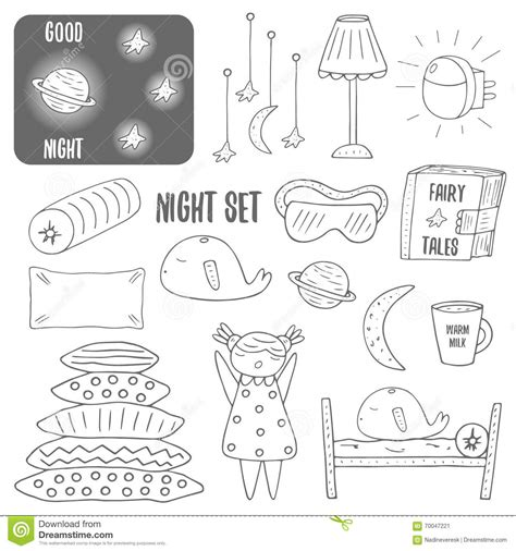 doodle draw theme doodle sleep theme objects