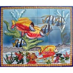 Ceramic Tile Wall Murals Mosaic Aquarium Fish 30 Tile Ceramic Wall Mural
