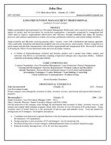 Good Resume Objectives Loss Prevention by Loss Prevention Management Professional Resume