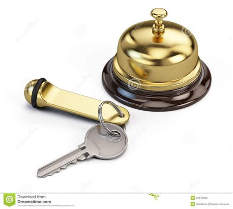 Bell Hotel hotel key and reception bell stock photography image