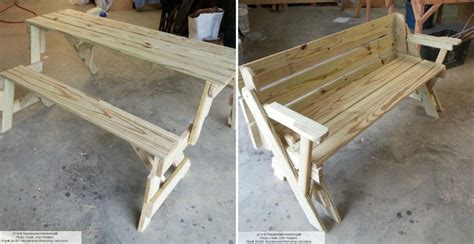 folding bench table diy foldable picnic table quick woodworking projects