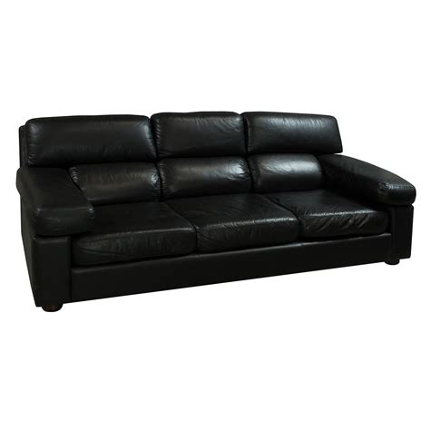 Center Leather Used Pu Leather Sofa Black National