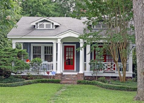 blue house with red door blue gray house bright red door gray roof white trim white columns house