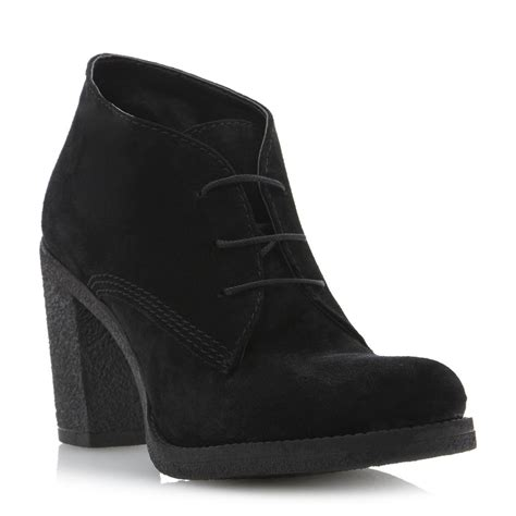 new dune preem womens black suede high heel lace up