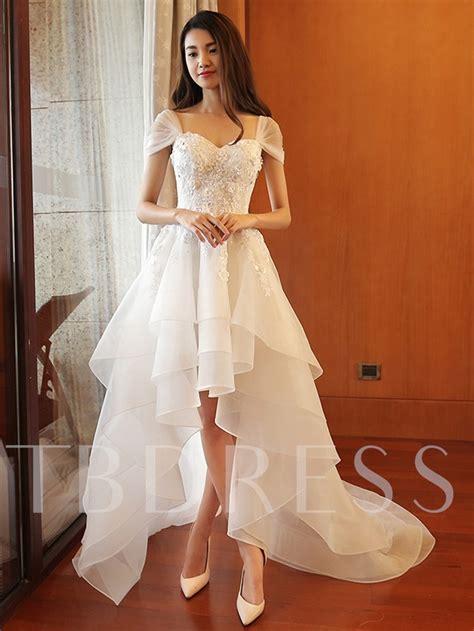 cap sleeve appliques beading high  beach wedding dress