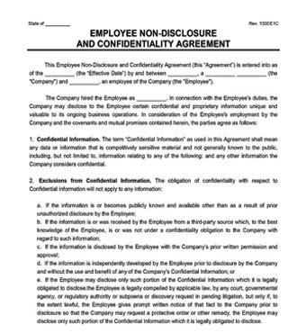 Employee Non Disclosure Agreement Create An Nda Non Disclosure Agreement Template New York