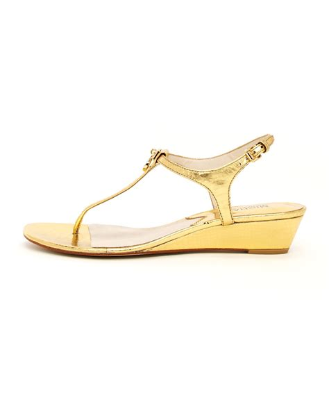 golden sandals lyst michael kors hamilton metallic sandal in metallic