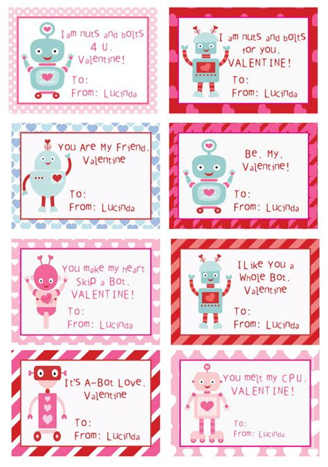 free printable personalized postcards items similar to kids robot valentines cards